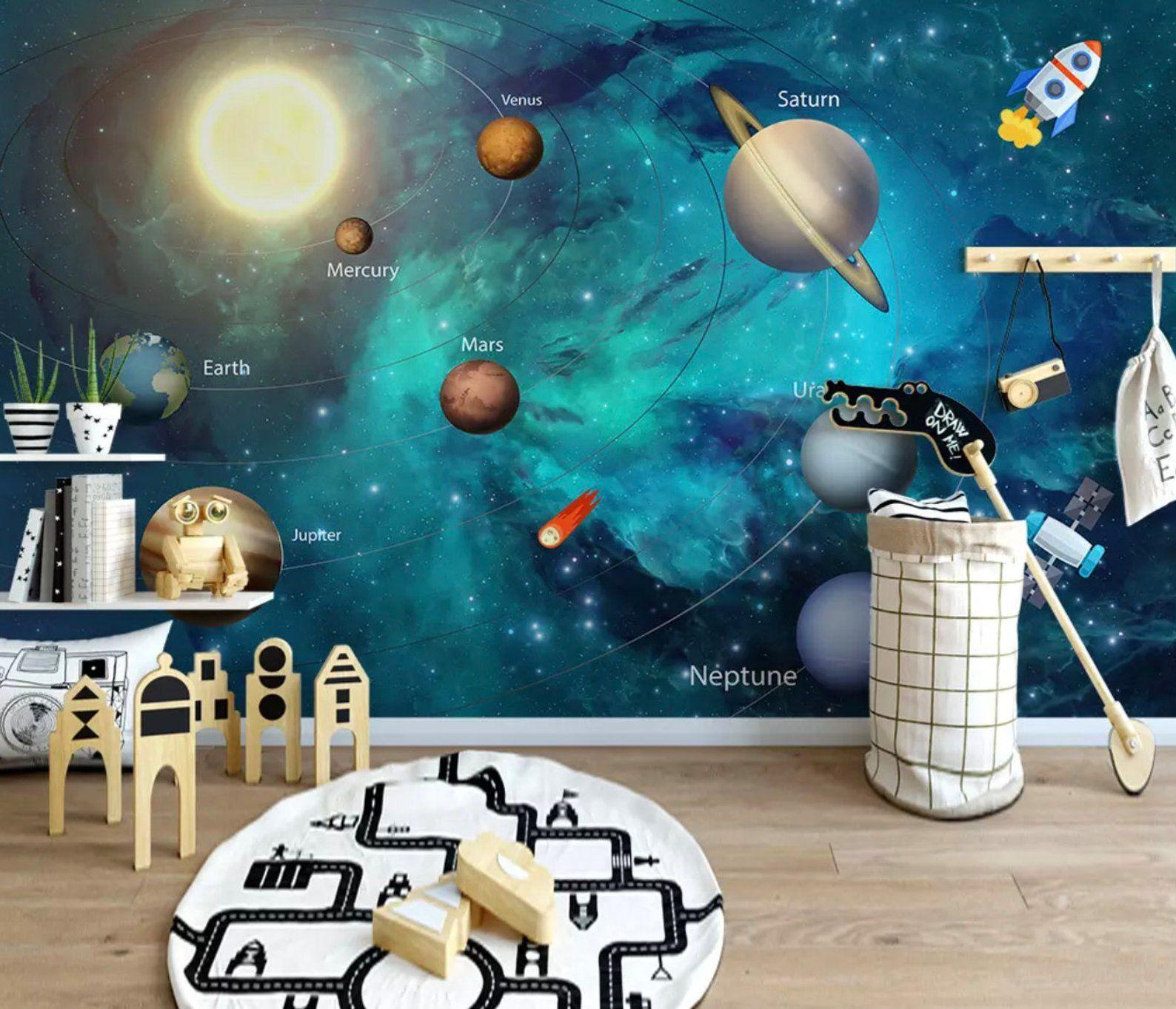 Kids Wallpaper 3D Solar System Wall Murals Planet Wall