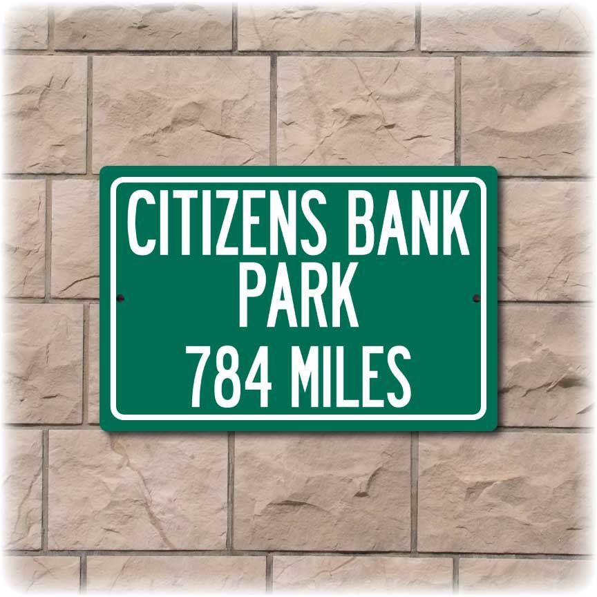 Personalized highway distance sign to citizens bank park