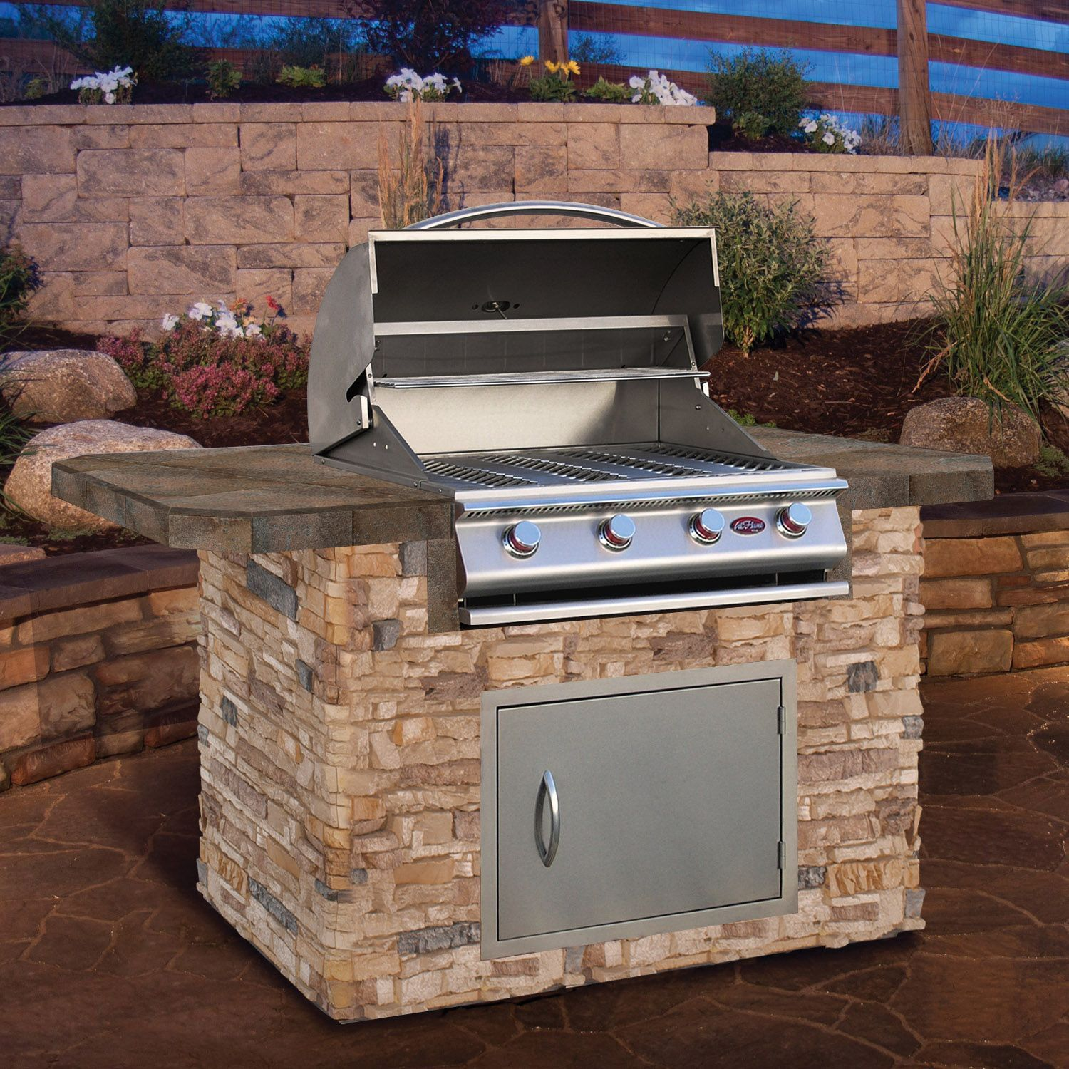 Cal Flame 6 Stone Bbq Island With Bar Depth Top And 4 Burner Gas Grill Stone Bbq Bbq Island Backyard Grilling