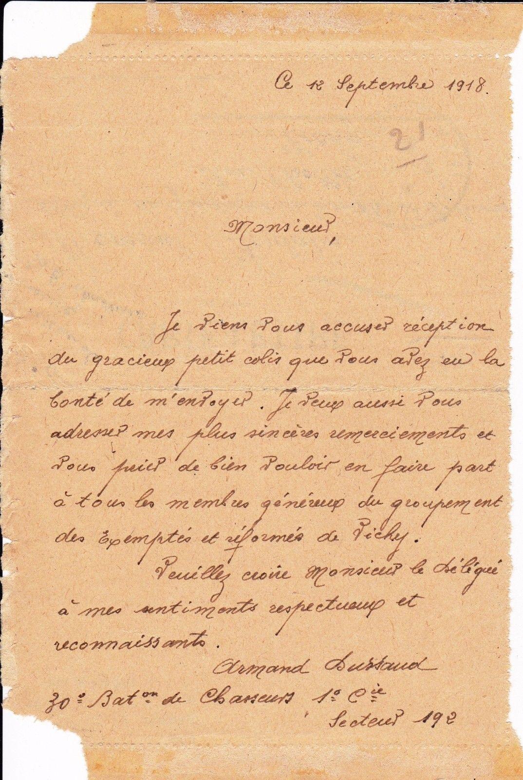 Favori Lettre de Soldat Première Guerre Mondiale 30e Bat. Chasseur 1918  JA26