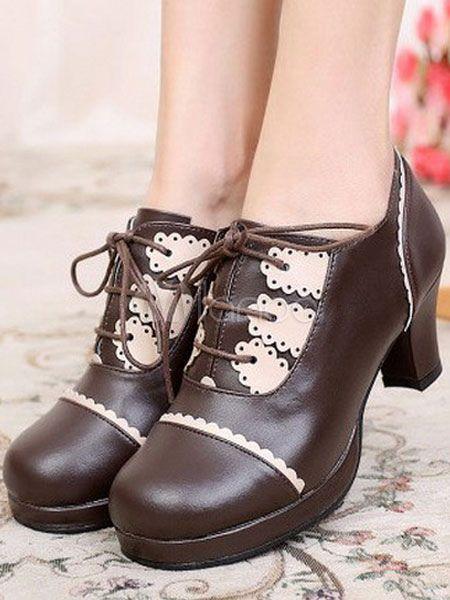 6b4579c97f5f Sweet Lolita Shoes Chunky Heel Lace Up Ruffles Pumps