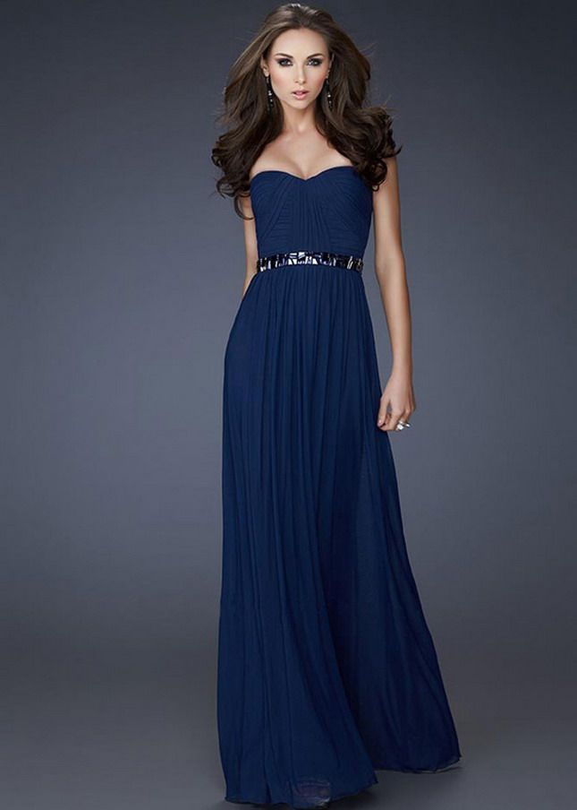 Chiffon Strapless Long Prom Dress Prom Dresses