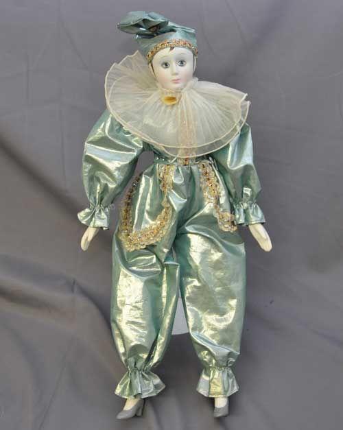"Harlequin Dolls | Pierrot Harlequin Jester Ceramic Plush Doll 16"" Aqua | eBay"