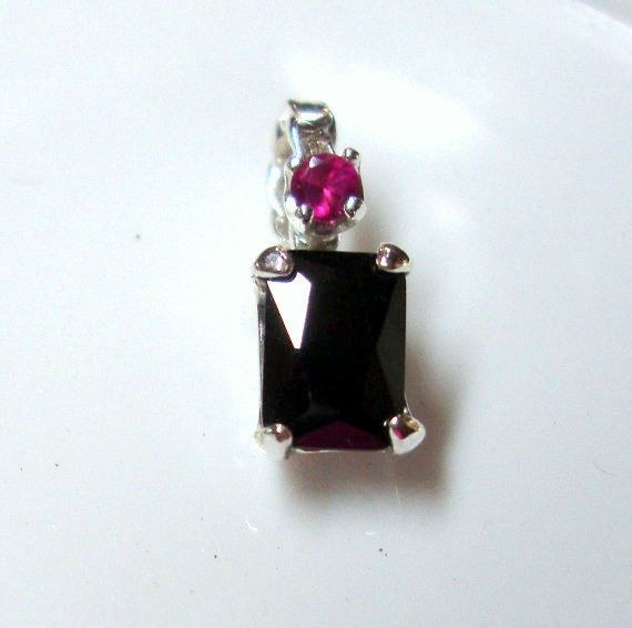 Pendant black spinel 7x5mm 1 ct  emerald cut w 3mm by ApacheMoon