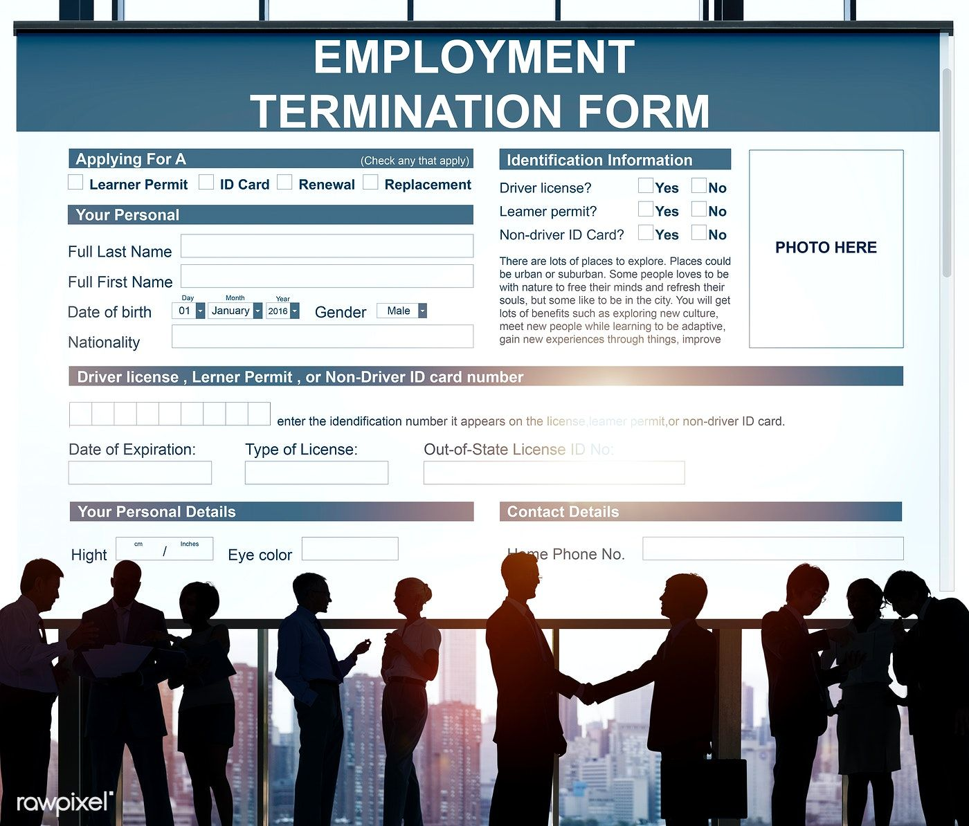 Employment Termination Form Contract Concept free image
