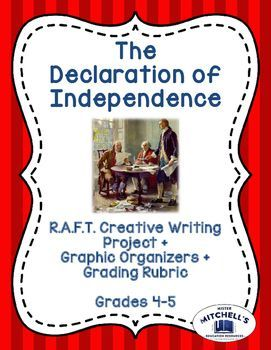 The Declaration of Independence R.A.F.T. Creative Writing Project is an excellent assignment to use to wrap up a lesson about this famous moment in American History.   This R.A.F.T. is also a great idea if you wish to make a unit multidisciplinary: you can combine social studies and language arts into a fun, challenging creative writing project! See more at the link!