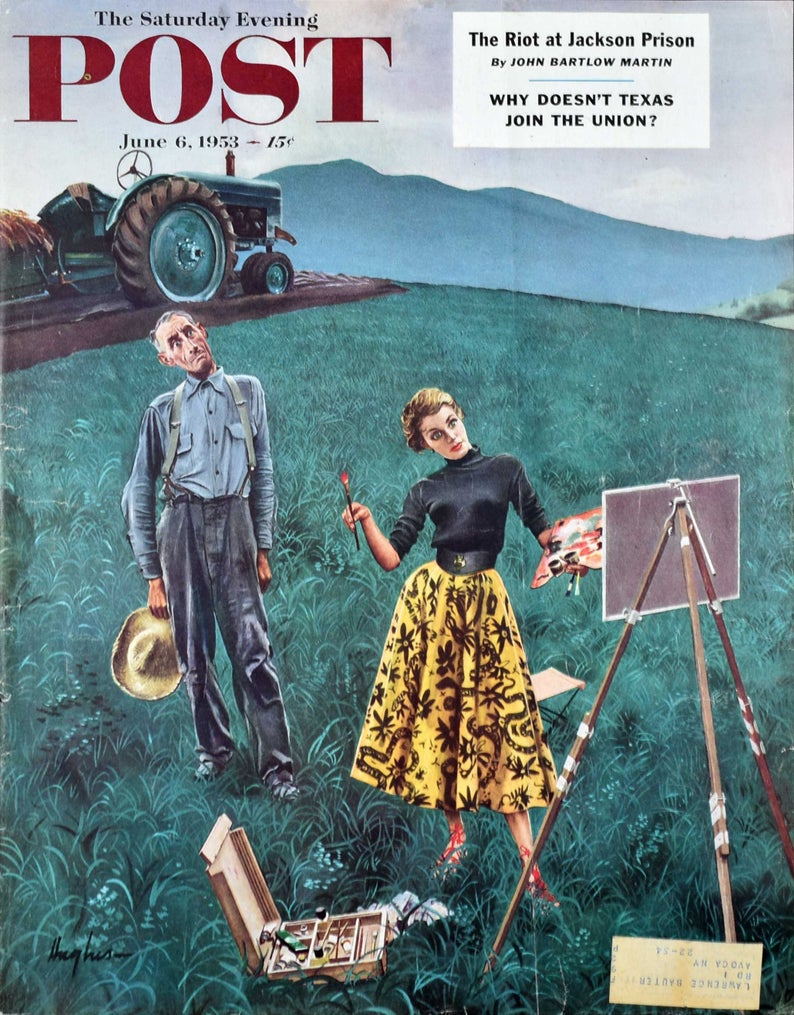 1953 Farmer & Female Artist in Field Etsy in 2020