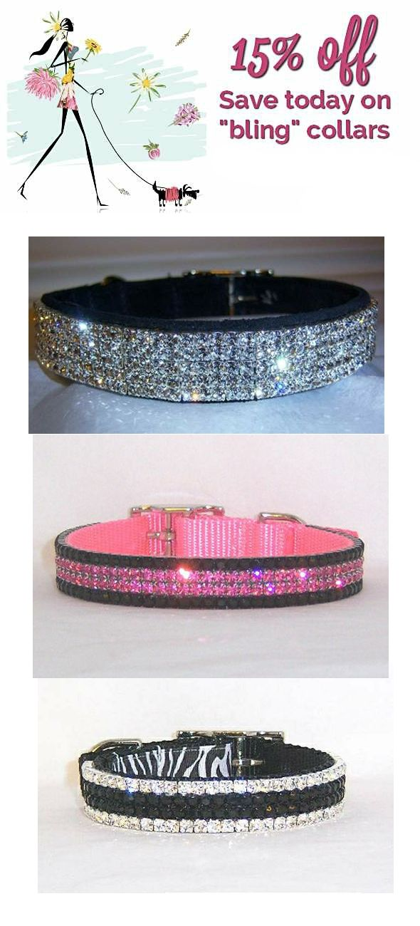 """Save on Swarovski Crystal """"bling"""" collars. For dogs and cats ~ small and large!"""