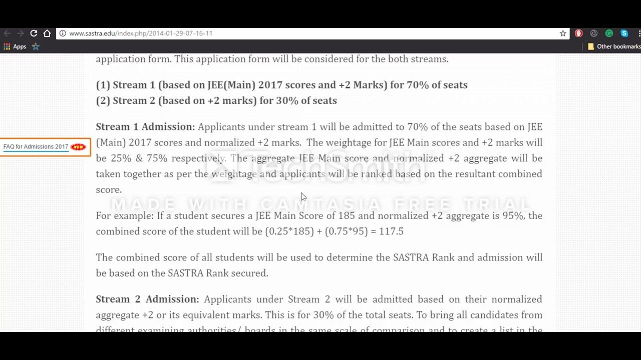How To Fill The Sastra  Application Form  Sastra University
