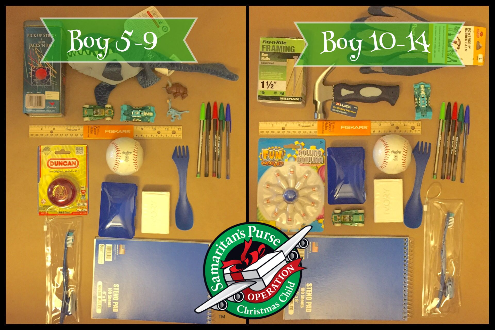 Operation Christmas Child. Ideas for Boy 59 and Boy 1014