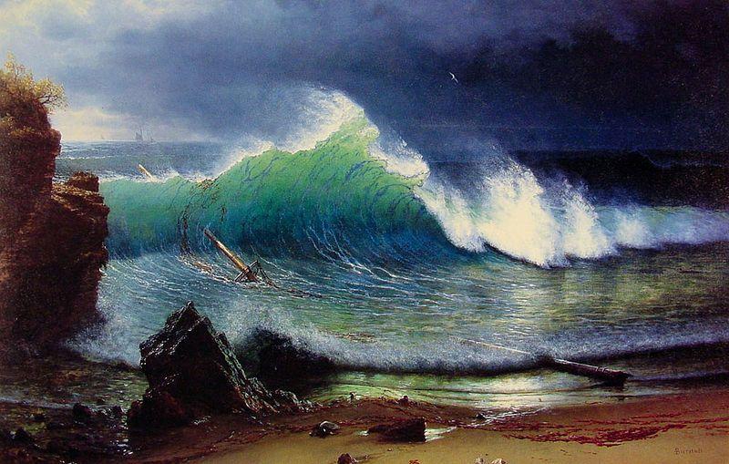 The Shore of the Turquoise Sea, oil on canvas, 163.8 x 108 cm    1878, Albert Bierdstadt