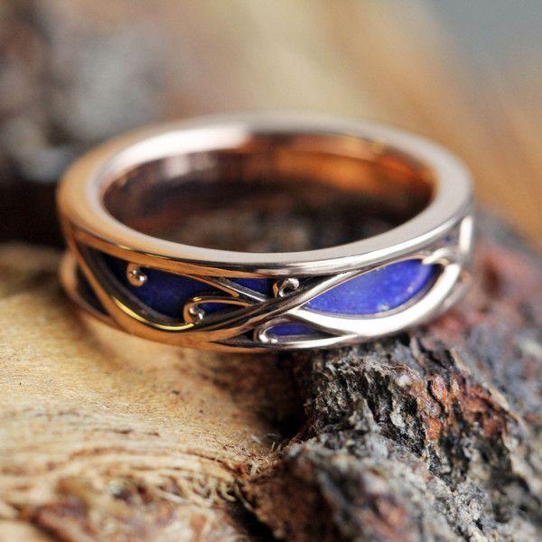 14k Rose Gold Wedding Band With Lapis Lazuli Art Nouveau Ring