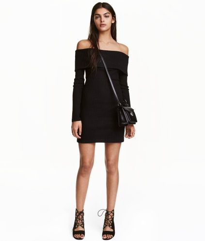 f63103098e02 Black. Fitted, off-the-shoulder, long-sleeved dress in soft, ribbed jersey  with a foldover cuff at upper edge and slits at sides of hem.