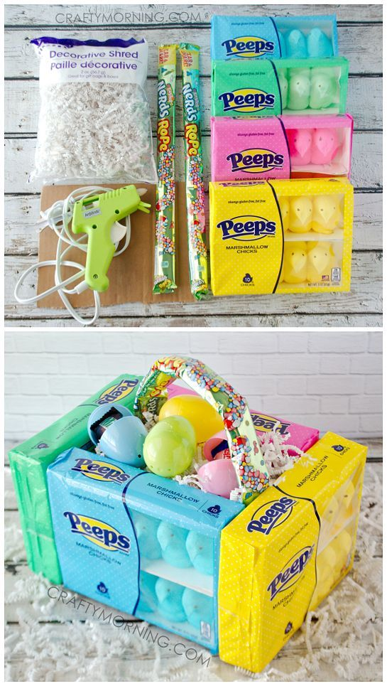 Edible peeps marshmallow easter baskets for the kids cute diy edible peeps marshmallow easter baskets for the kids cute diy craft to make negle Image collections
