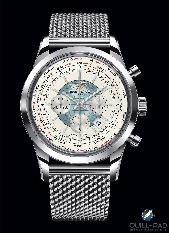 Breitling Transocean Chronograph Unitime On Mesh Bracelet