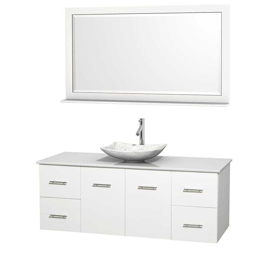 Wyndham Collection Centra 60 In Vanity In White With Solid