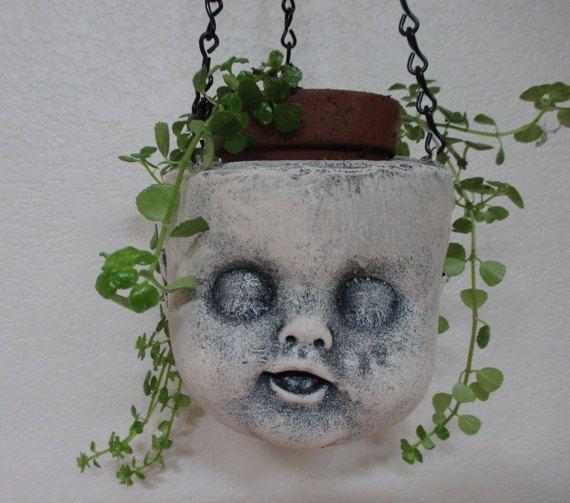 Creepy Doll Head Hanging Planter Concrete Indoor Outdoor