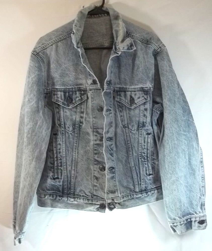 b27471098 Vintage Levis Denim Jean Jacket Acid Wash XL Gold Tab Rocker Trucker ...