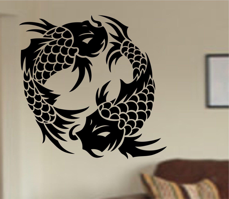 Koi Fish Wall Decal Sticker Art Decor Bedroom Design Mural version ...