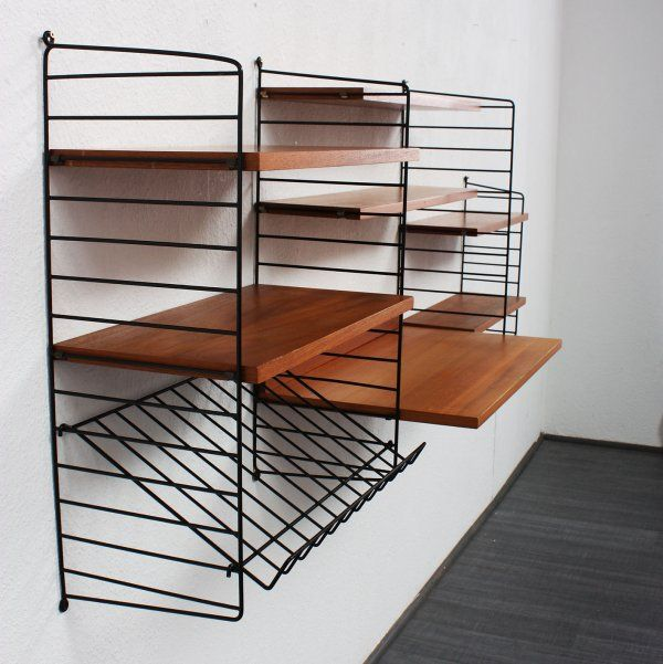 nisse strinning teak and enameled metal 39 string 39 shelving system 1960s design pinterest. Black Bedroom Furniture Sets. Home Design Ideas