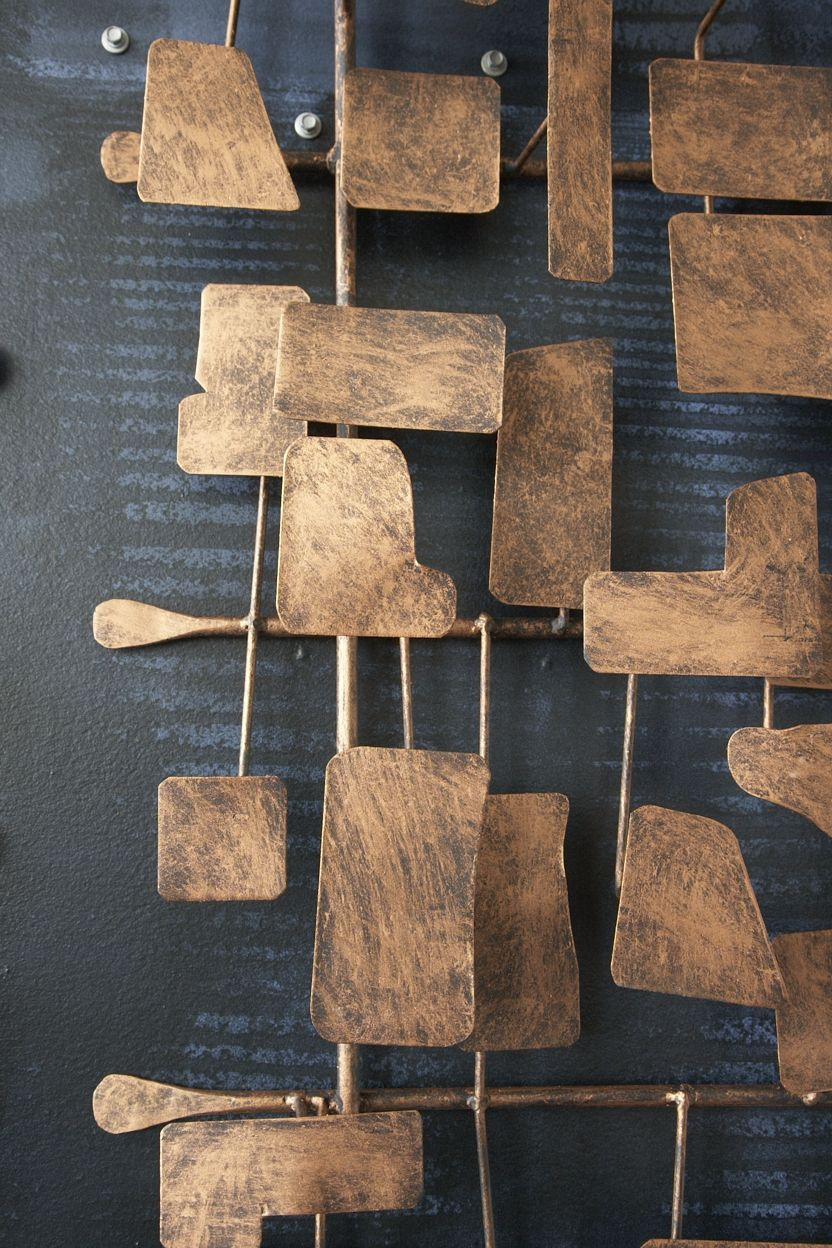 Handcut metal wall sculpture with inspiration forged in redhot