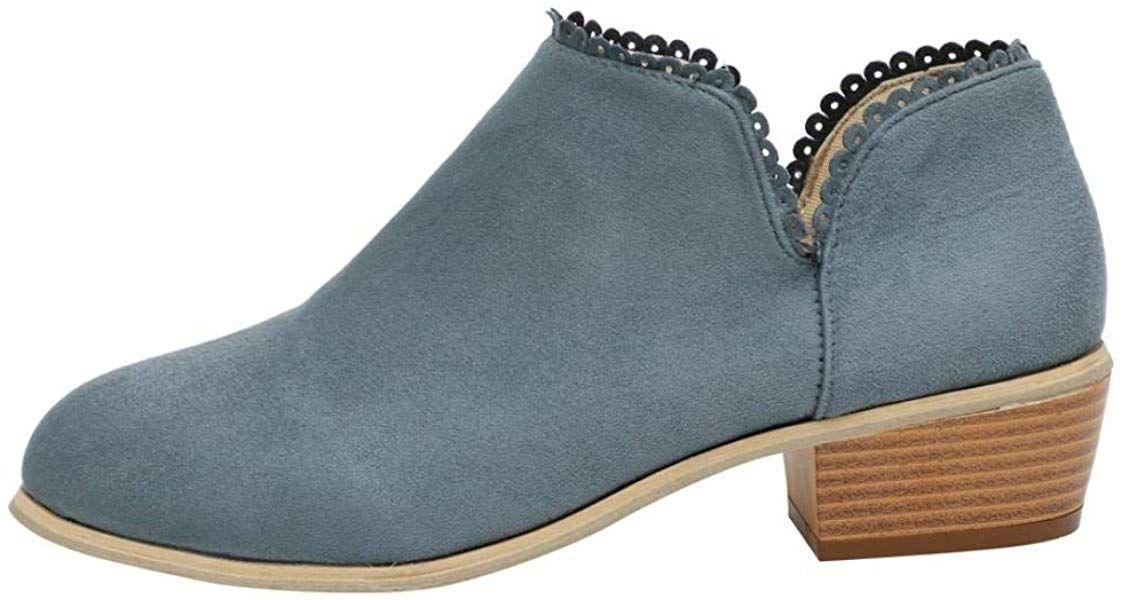 b52dea6bd2261 Amazon.com | Creazrise Womens Comfortable Perforated Low Chunky Heel ...