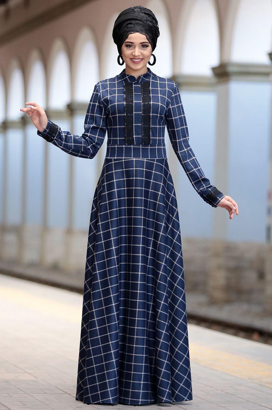 Piennar Tesettur Ekoseli Elbise Modelleri Moda Tesettur Giyim Elbise Modelleri Maksi Elbiseler Moda Stilleri