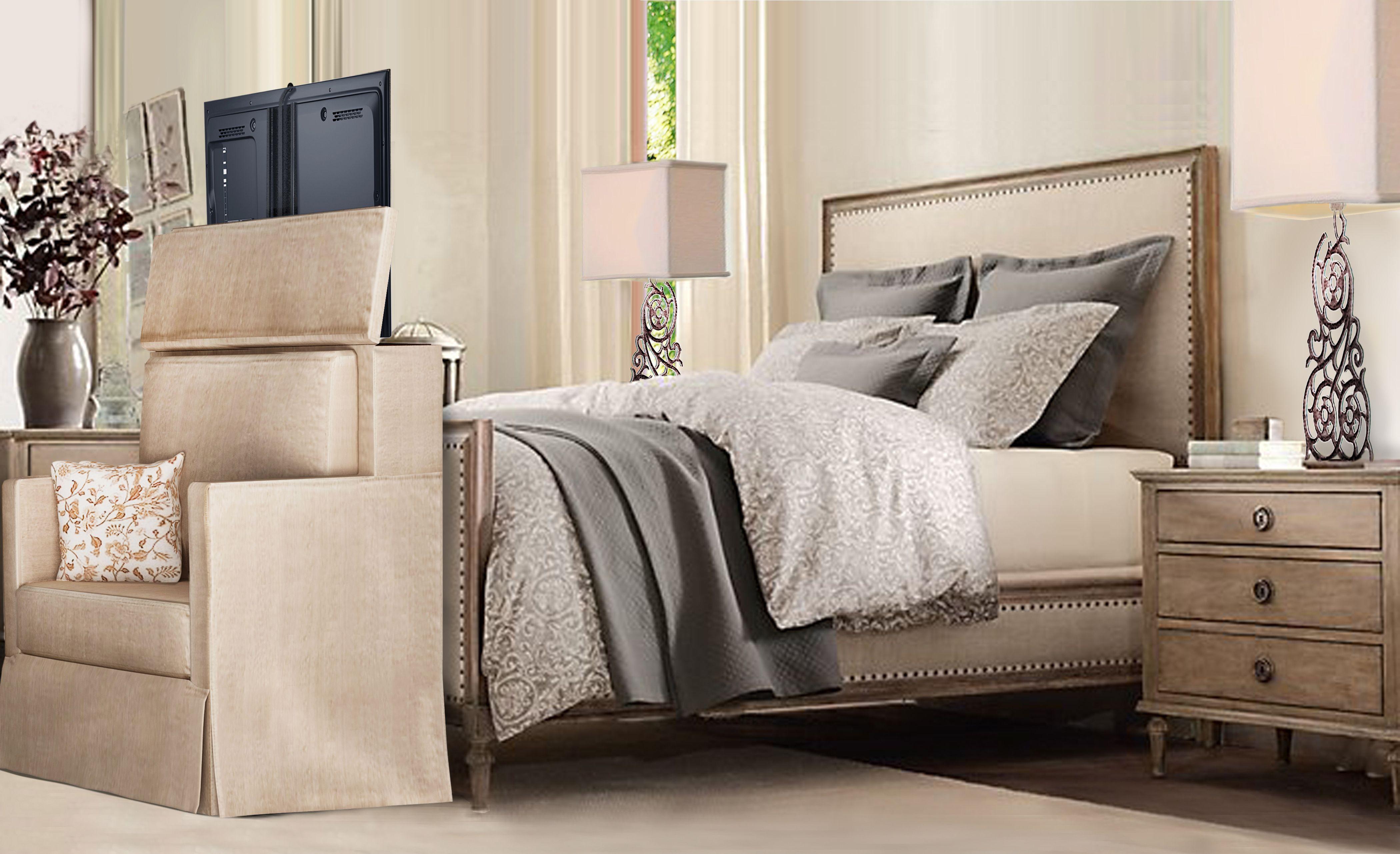 Custom sofa with TV Lift Home bedroom, Tv lift