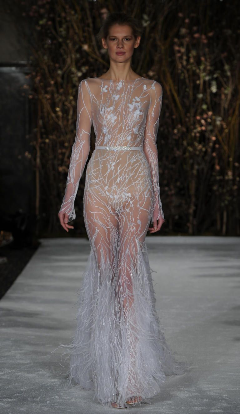sheer wedding dresses See Mira Zwillinger s Bold Barely There Wedding Dresses for Spring