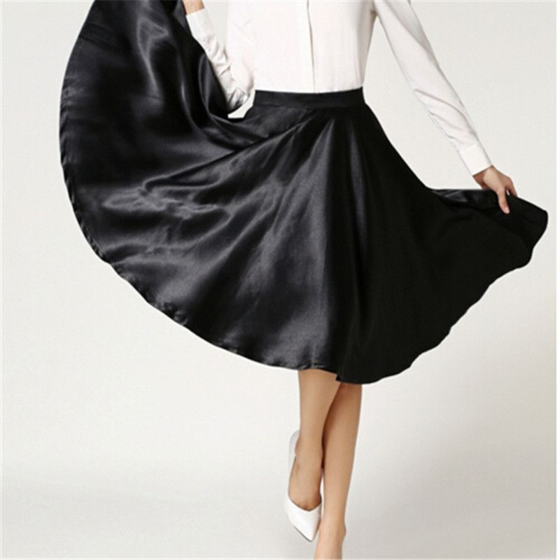Satin Solid 6XL 7XL Plus Size A-Line Swing High Waist Skirts Womens Midi Length Fashion Vintage Skirt 2016 Summer  #me #trendy #like #instacool #happy