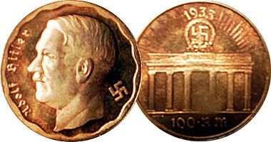 German coin from 1933 featuring Adolf Hitler.