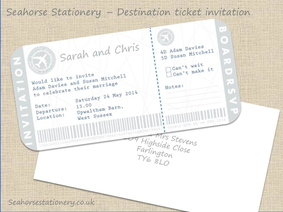 Airline Ticket Wedding Invitation With Rsvp Perfect