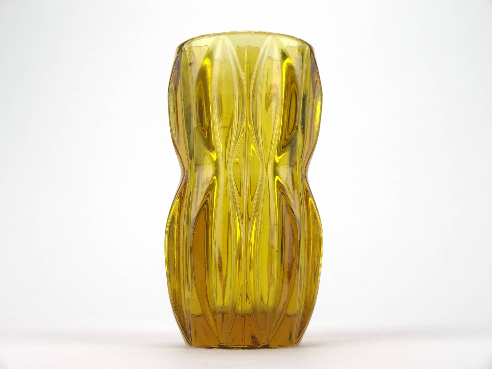 Vintage Czech Retro Yellow Amber Glass Vase By Jan Schmid For Glass Flower Vases Bohemia Glass Amber Glass