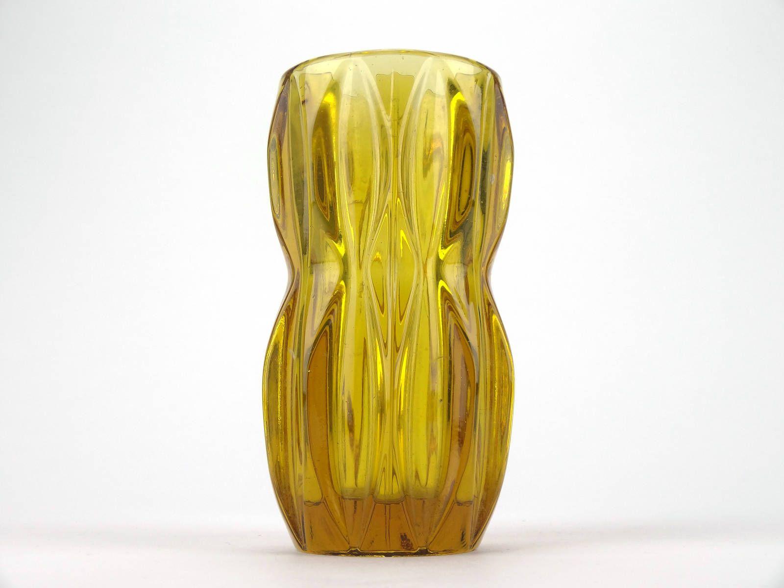 Vintage Czech Retro Yellow Amber Glass Vase By Jan Schmid For Glass Flower Vases Bohemia Glass Amber Glass