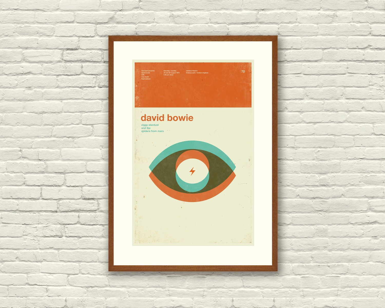 DAVID BOWIE Ziggy Stardust Inspired Art Print Concert Poster - 12 x ...