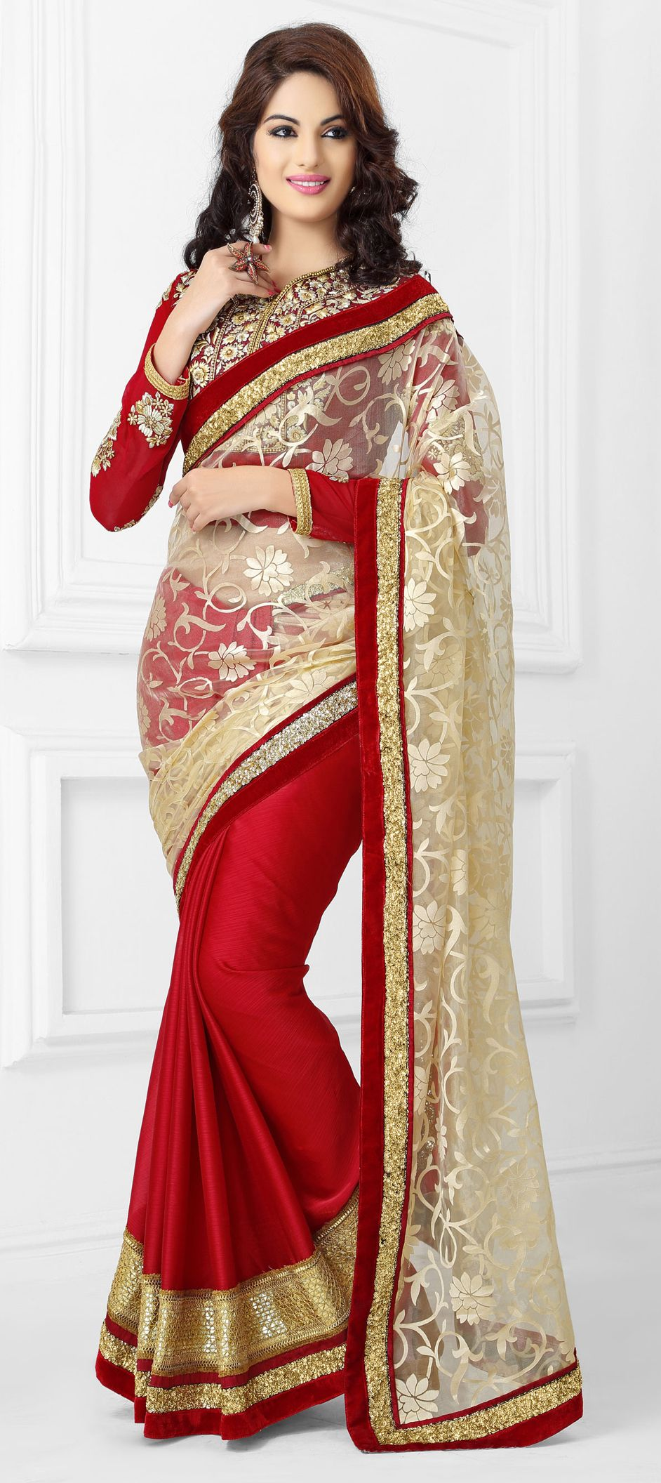 151932: Red and Maroon, Beige and Brown color family Saree with ...
