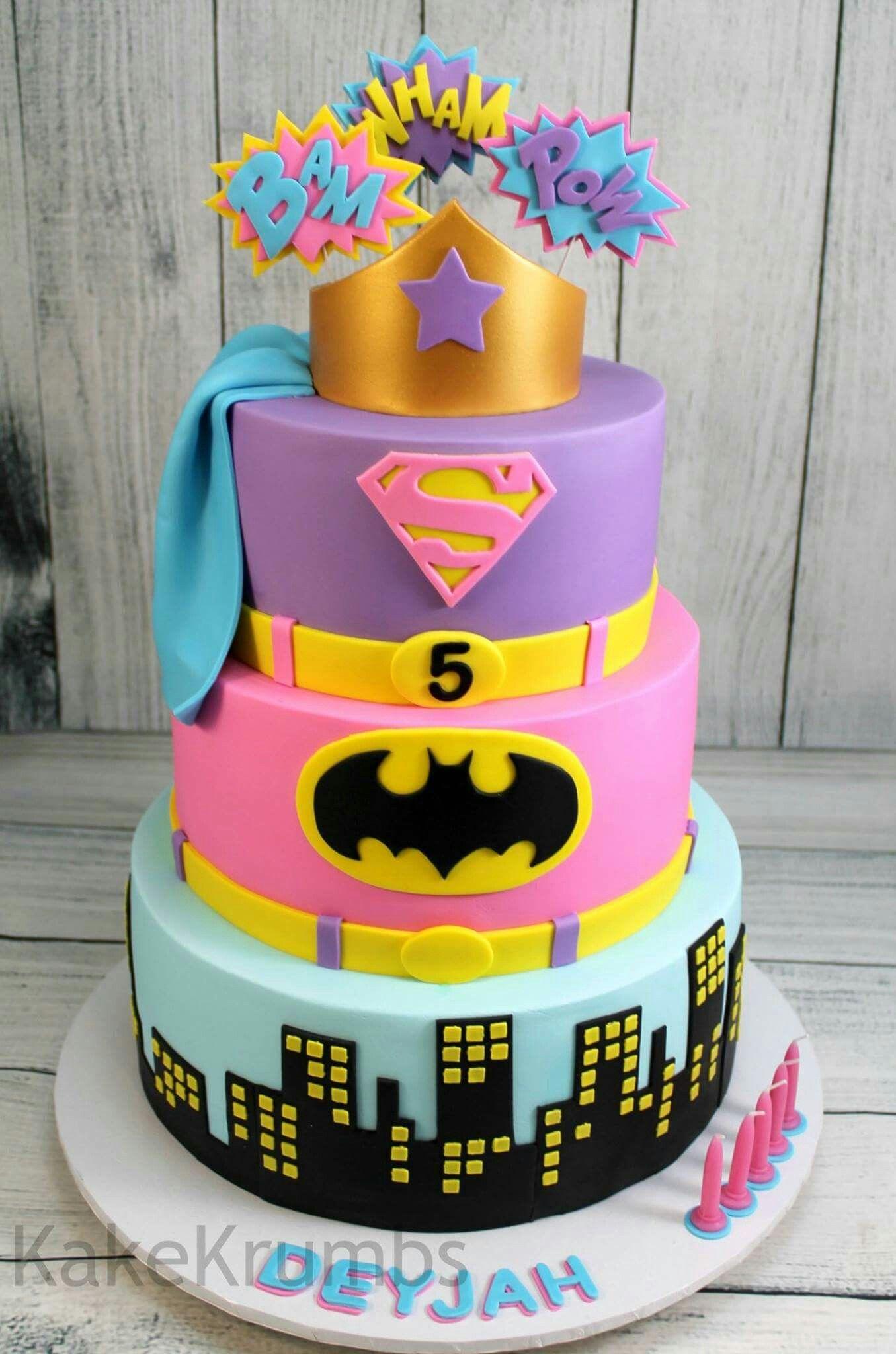 Girly Super Hero Cake Cakes Bolo De Cupcake Bolo De