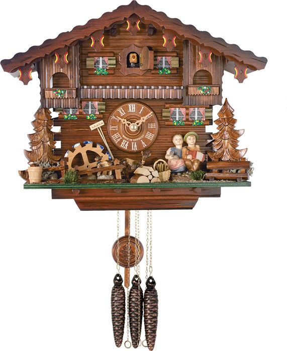 one day chalet style musical cuckoo clock boy and girl turn heads to kiss 11 inches tall
