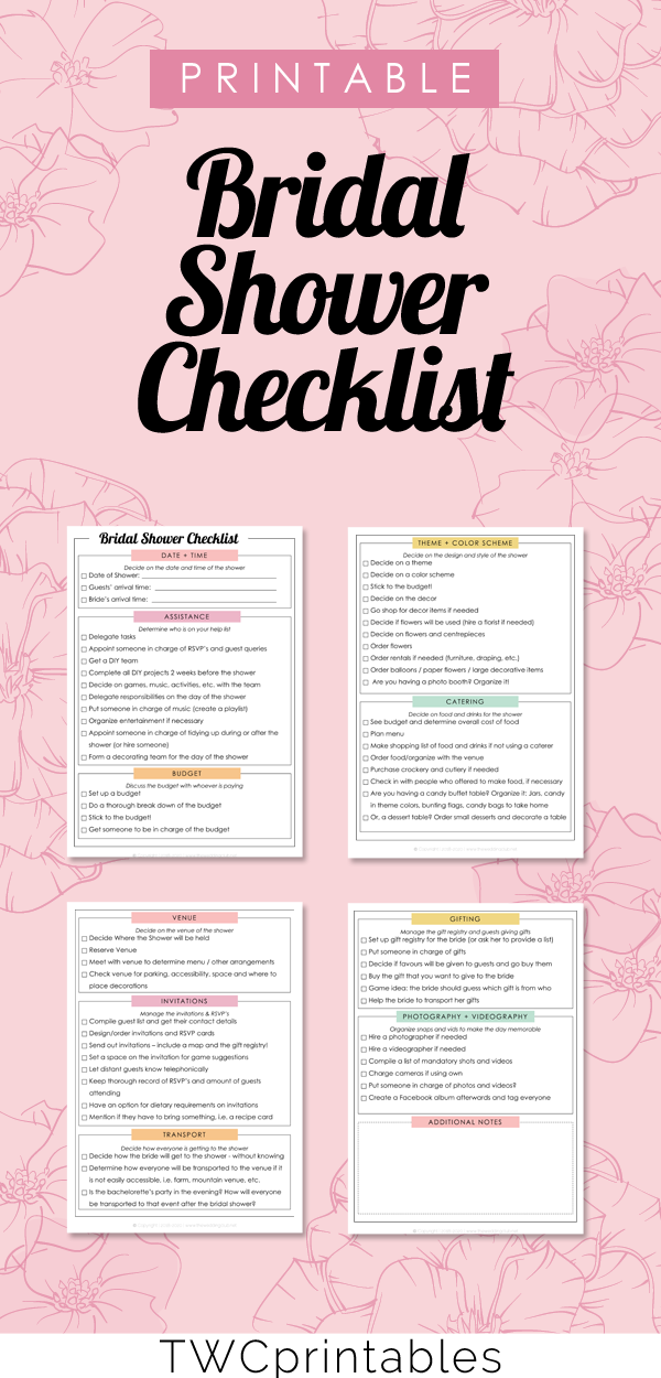 need some help planning a bridal shower for the bride check out this handy printable checklist wedding bridalshower planning weddingplanning bride