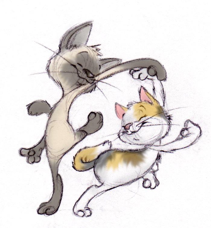Своими, смешной рисунок кошки-мышки