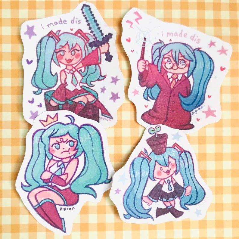 Cute Hatsune Miku Stickers Kawaii Bullet Journal Decals Etsy Hatsune Miku Sticker Kawaii Miku