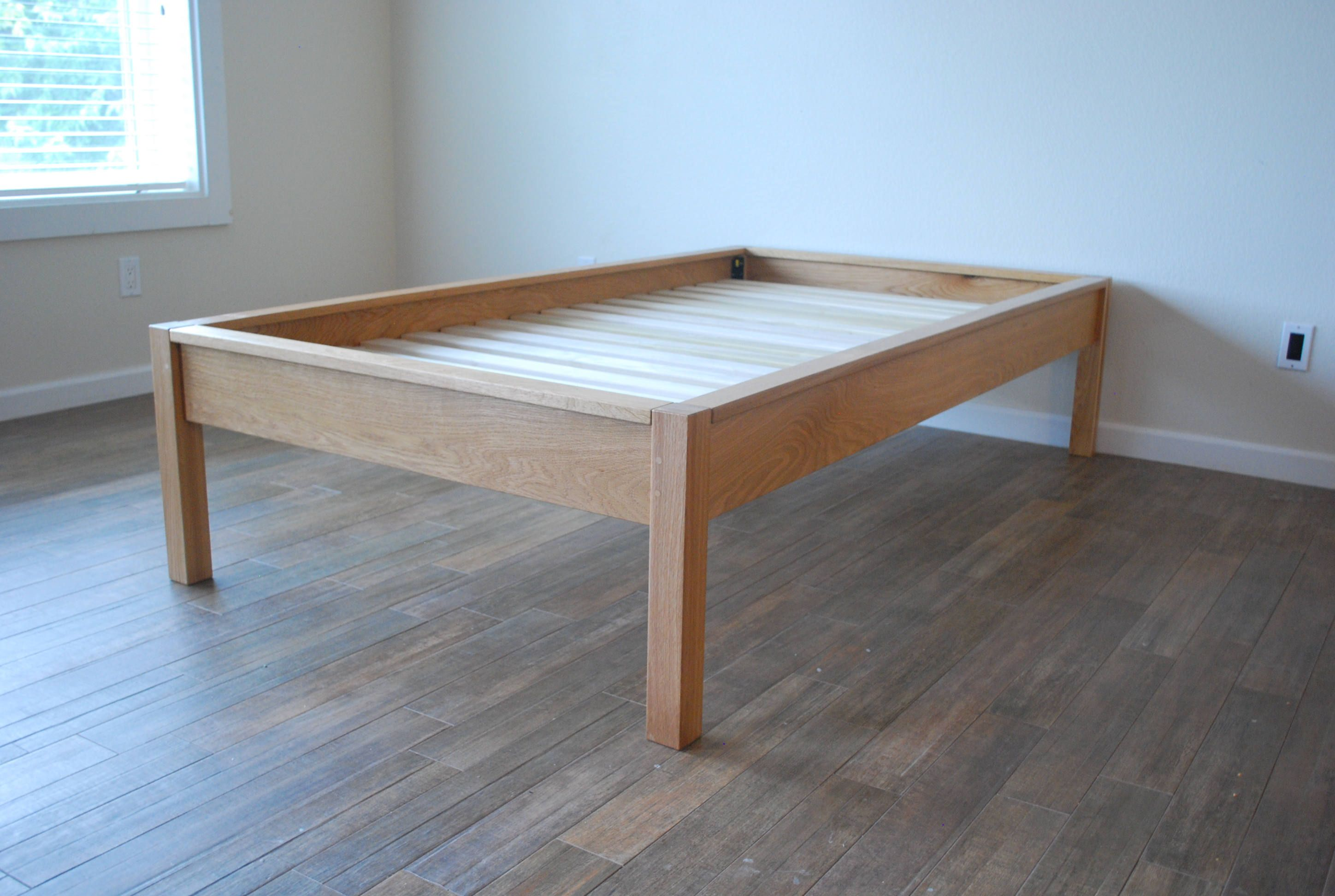 Platform Bed In White Oak Simple Bed Frame Twin Full Queen
