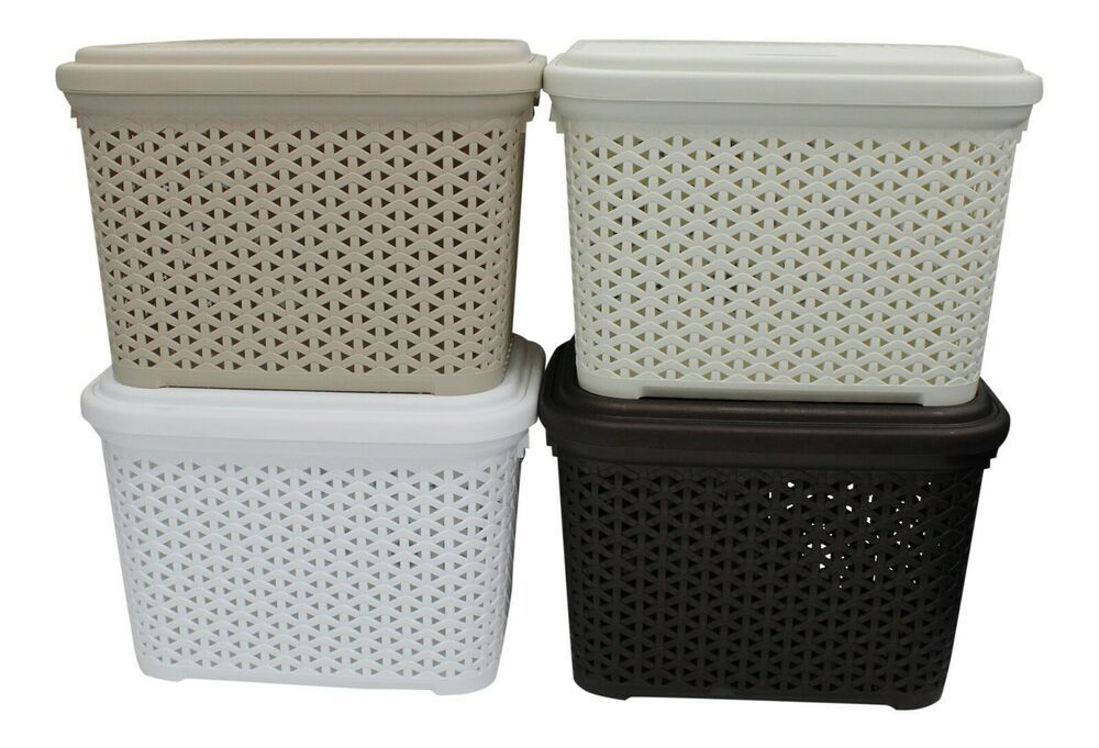 Rattan Plastic Storage Box 20 Litre Stackable With Swing Lid