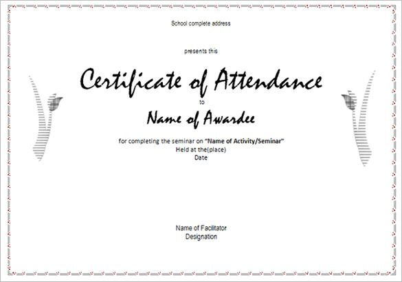 Attendance Certificate Templates 12+ Free Word  PDF Formats