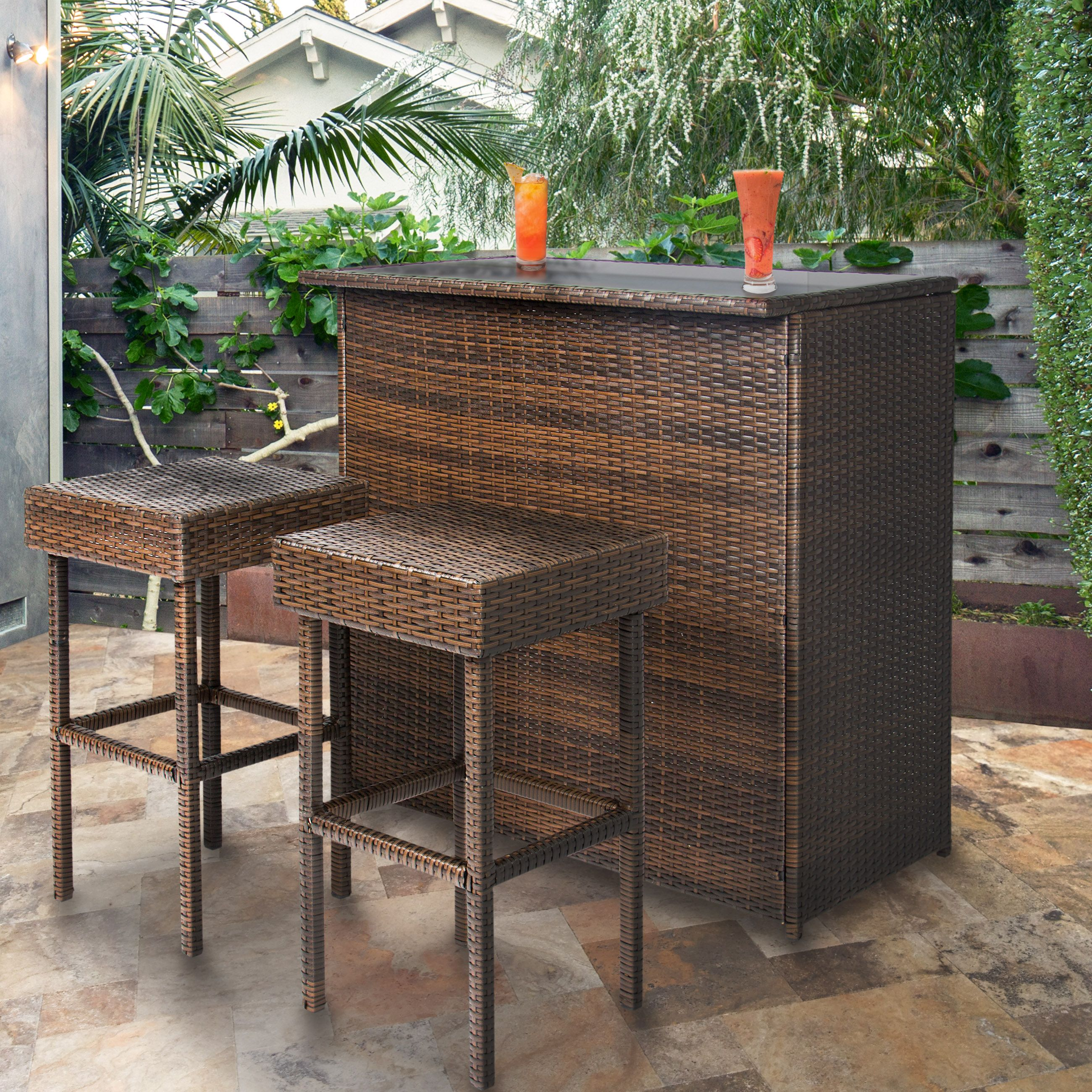 Best Choice Products Wicker 3 Piece Outdoor Bar Set Walmart Com Outdoor Bar Furniture Outdoor Bar Sets Backyard Table
