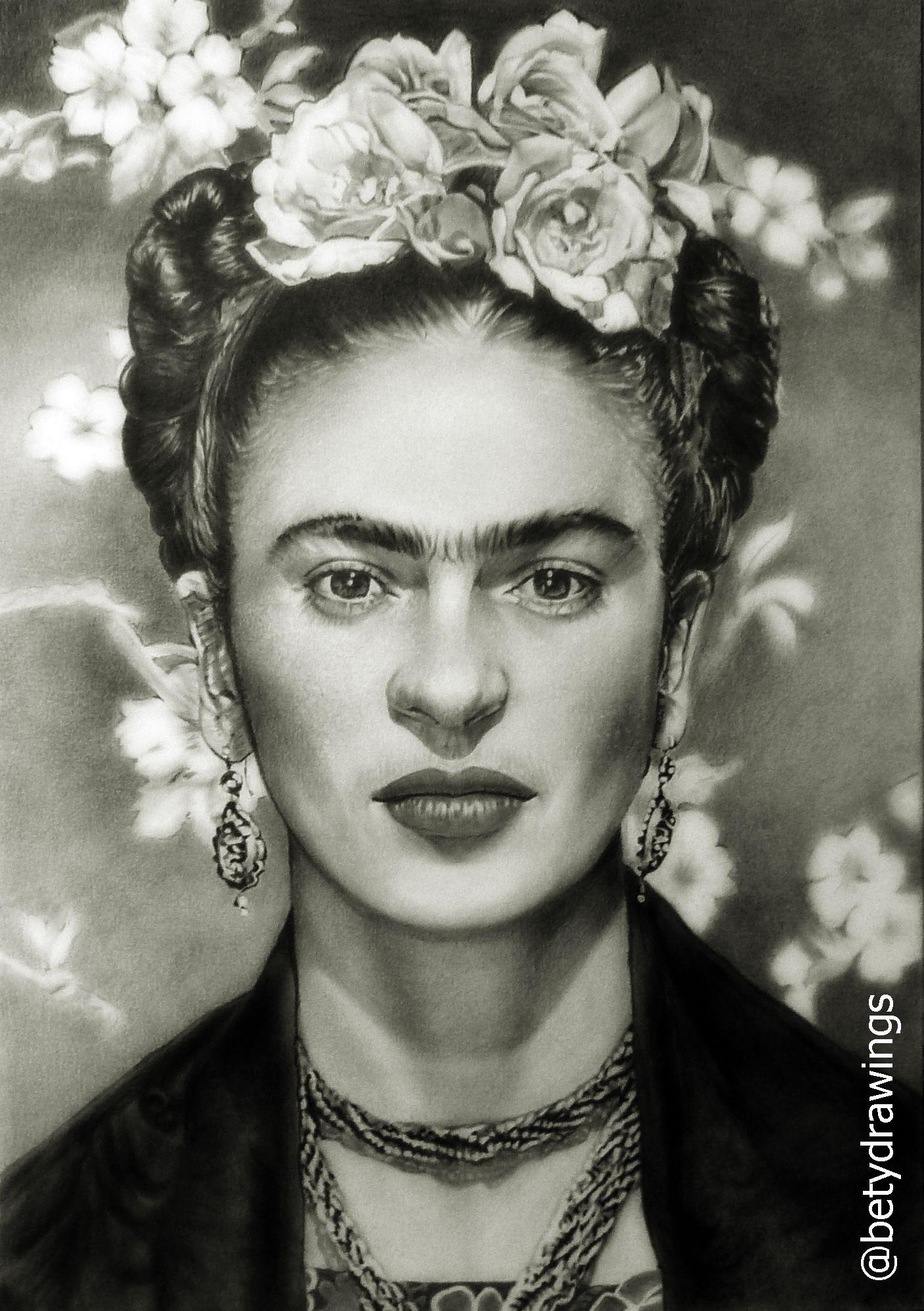 Frida Kahlo Graphite Artwork By Betydrawings Em 2020 Retratos De