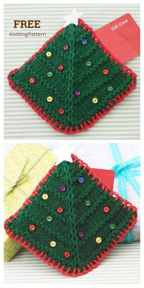 5 Knit Christmas Gift Card Holder Free Knitting Patterns ...