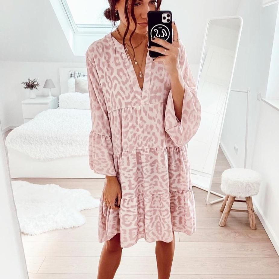 vintage pink print long sleeve midi dress – peptty