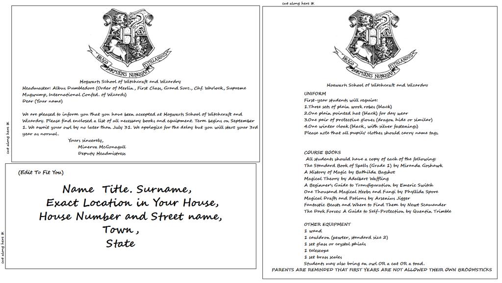 Hogwarts Acceptance Letter Template By BasaliskfangDeviantartCom