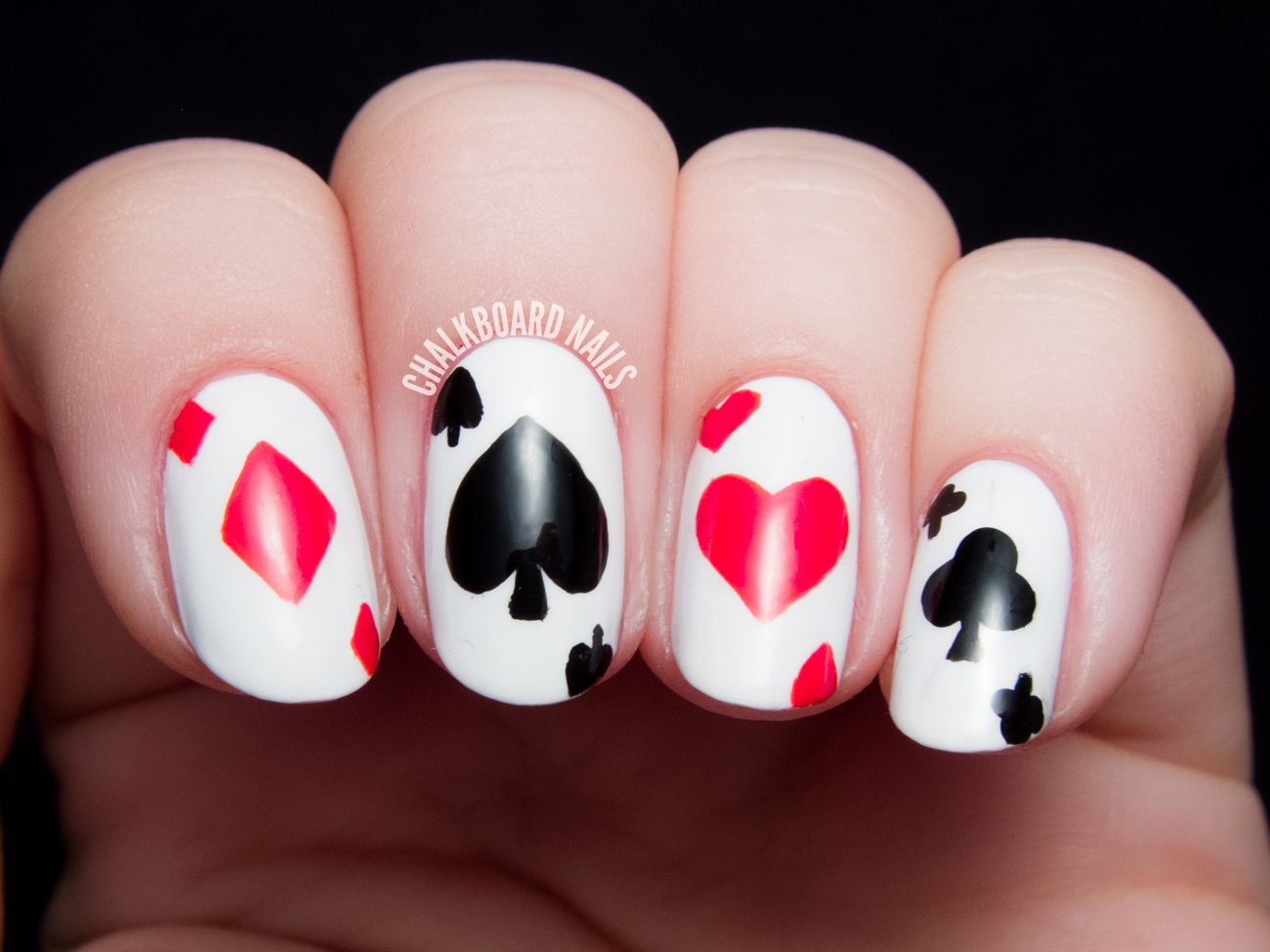 Off With Their Heads! Queen of Hearts Nail Art | Playing cards ...